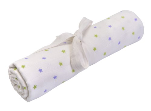 Under The Nile Organic Egyptian Muslin Swaddle Blanket Kiwi/Lilac Star Print 45 x 45""