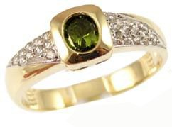 14k Yellow Gold White Rhodium, Modern Design Ring with Lab Created Oval Shape Green Colored Stone