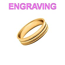 buy So Chic Jewels - Vermeil - Silver Gilt (18K Gold Over 950 Sterling Silver) 5 Mm Polished & Sand Blasted Effect Line Wedding Band Ring - Your Message Engraved Free - Size 8.5