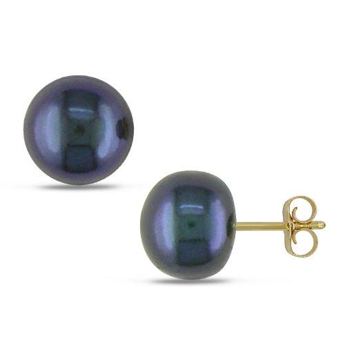 10K Yellow Gold Freshwater Button Shape Black Pearl Earrings