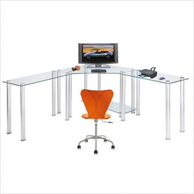 Buy Low Price Comfortable RTA Home and Office Clear Tempered Glass L-Shape Corner Computer and Laptop Desk (B001YKHI0A)