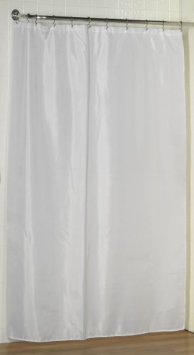 White, Water Repellent Fabric Shower Curtain Liner By Carnation, 70