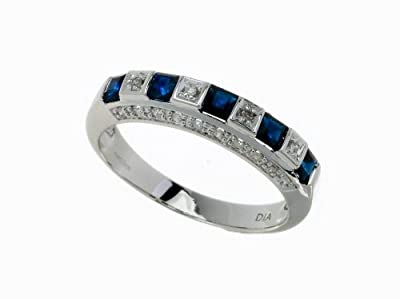 Ariel Ladies 9ct White Gold Diamond & Sapphire Eternity Ring