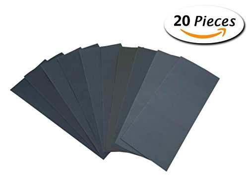 320 to 3000 Grit Wet Dry Sandpaper 9 x 3.6 Inches for Automotive Sanding, Wood Furniture Finishing, Wood Turing Finishing,Pack of 20 (3m Imperial 600 Grit compare prices)