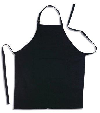 Küchenschürze - Grillschürze - Latzschürze, SCHWARZ, 100% Baumwolle, 70 x 85 cm, mit verstellbarem Nackenband und aufgesetzter Tasche vorne.