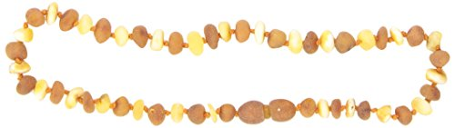 "Momma Goose Baroque Teething Necklace, Unpolished Lemon and Cognac, Small/11-11.5"" - 1"