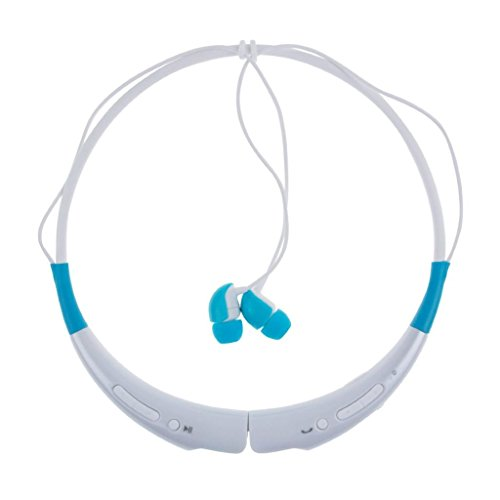 Magicshield Hbs-740 Bluetooth V4.0 Wireless Bluetooth Stereo Headset Neckband Style Earphone And Handfree Headphones For Cellphones For Iphone 6 Iphone 6 Plus Ios And Samsung Android Smartphone -White&Skyblue