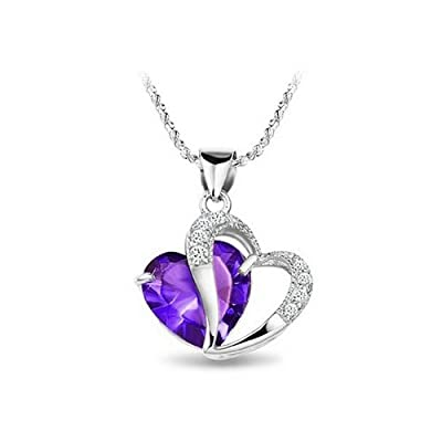 KATGI Fashion Sterling Silver Plated Diamond Accent Amethyst Heart Shape Pendant Necklace: Jewelry