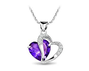KATGI Fashion Sterling Silver Plated Diamond Accent Amethyst Heart Shape Pendant Necklace