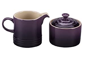 Le Creuset Stoneware Cream and Sugar Set, Cassis by Le Creuset