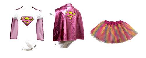 [Rush Dance Superhero Detachable Cape Romper Baby Toddler Girl ONESIE & TUTU Set (M (6-12 Months),] (Toddler Supergirl Tutu Set)
