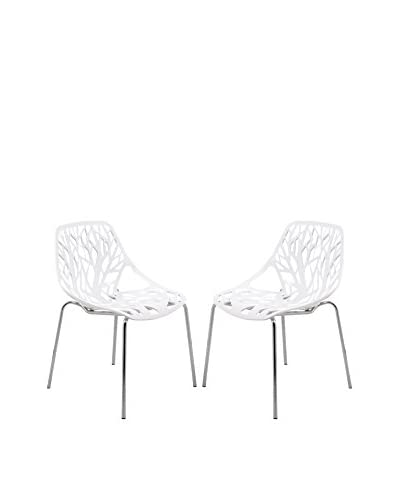 LeisureMod Set of 2 Modern Asbury Dining Chairs With Chromed Legs, White
