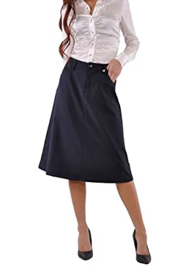 Style J Sleek Chic Navy Skirt