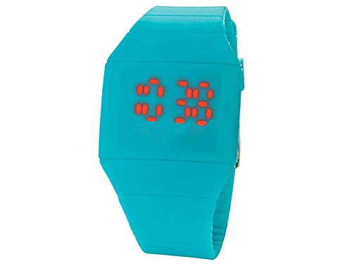 Moonar®Unisex Ultra Thin Cool Red Led Touch Screen Digital Display Rubber Wrist Watch(Light Blue)
