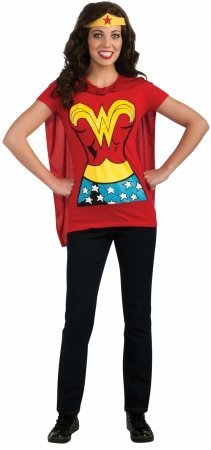 Rubies 212057 Wonder Woman T-Shirt Adult Costume Kit - Blue-Red-Yellow - Small