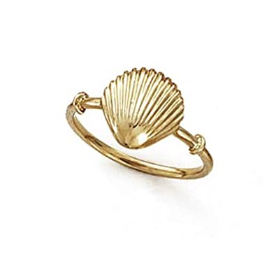14ct Gold Shell Ring - Size N 1/2