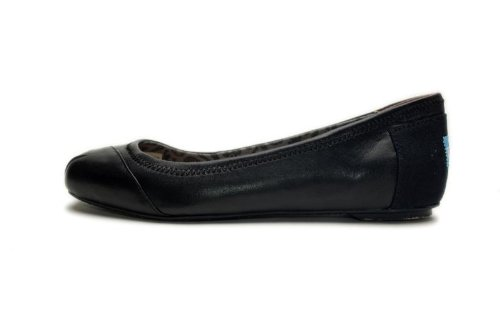 Toms - Womens Ballet Flats Shoes in Black Camila Leather & Suede, Size: 8B(M) US, Color: Black Camila Leather & Suede