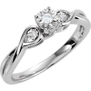 Genuine IceCarats Designer Jewelry Gift Sterling Silver .06Ctw Stone Dia Promise Ring. .06Ctw Stone Dia Promise Ring In Sterling Silver Size 7