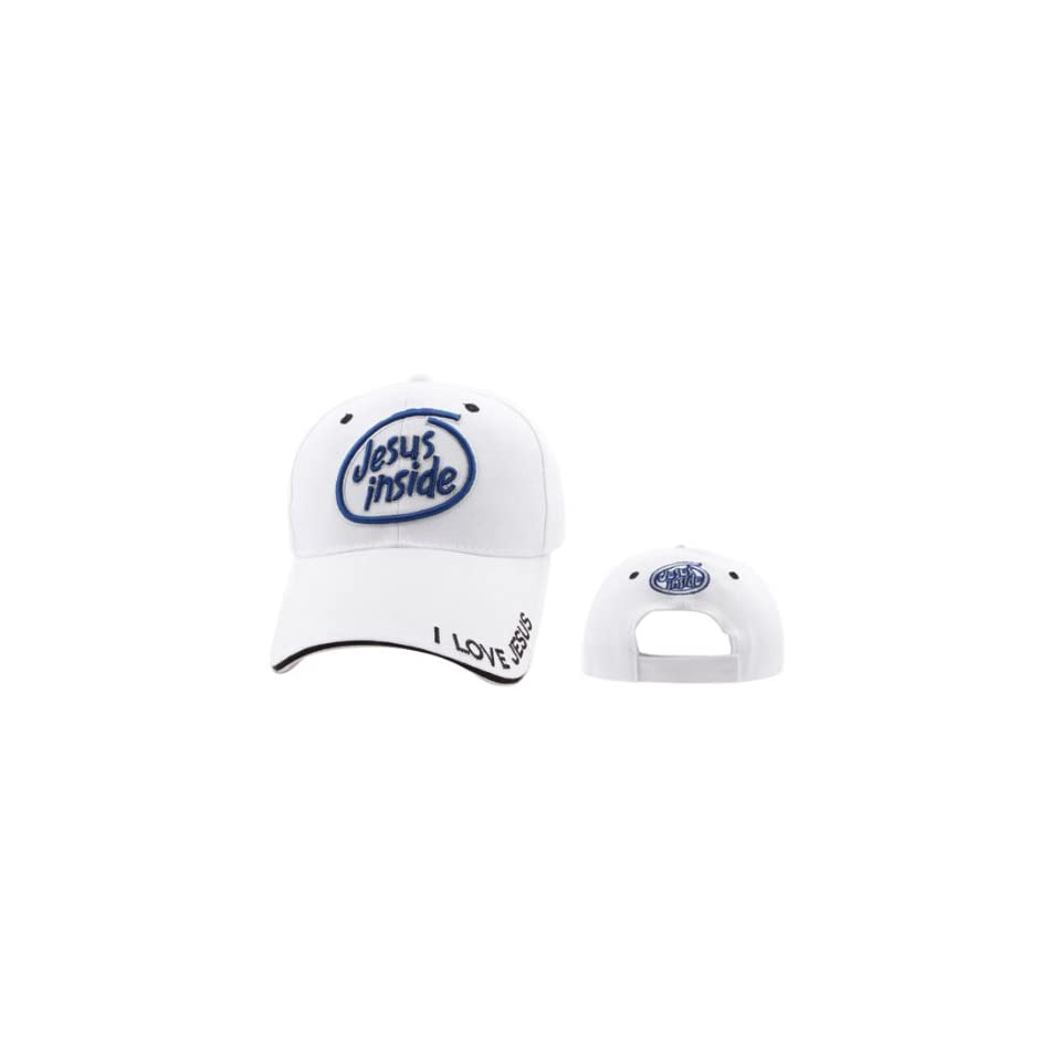 a9216cdad35 WHITE Jesus inside (like intel inside)I Love Jesus Adjustable Christian Baseball  Cap