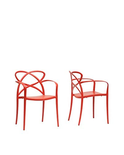 Baxton Studio Set of 2 Huxx Plastic Dining Chairs, Red