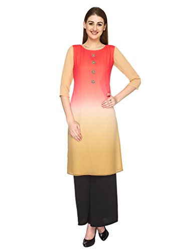 Fashion205 Red And Fawn Shaded Georgette With Hand Embroidery Long Kurti - B00ZL7P34U
