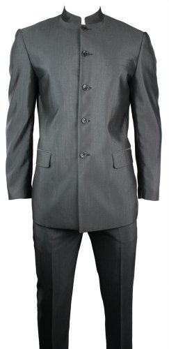 Mens Grey Suit Grandad Chinese Collar Beatle Style Work Wedding Party