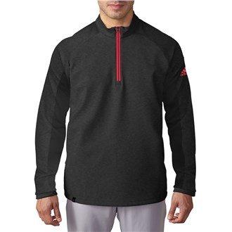 Adidas Golf 2016da uomo ClimaCool prestazioni concorrenza 1/4Zip Pullover Top, Uomo, Mens Black/Red Large, Black Heather, L