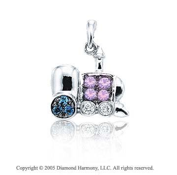 14K White Gold Diamond Sapphire 2D Train Bracelet Charm