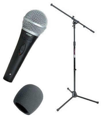 Shure PG58-XLR Cardioid Dynamic Vocal Microphone with XLR-to XLR Cable, Tripod Boom Microphone Stand, Black & Blue Foam Ball-Type Windscreen