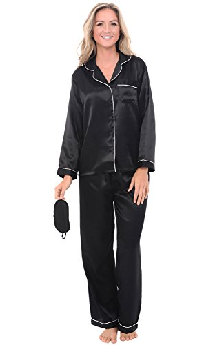 Del Rossa Women's Satin Pajamas, Long Button-Down Pj Set and Mask, XL Black with Cream Piping (A0750BKPXL)
