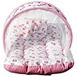 AMARDEEP NEW BORN BABY BEDDING SET WITH MOSQUITO NET PINK TEDDY NT-01 PINK By Nagar International