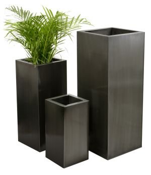 Tall Cube Zinc Planter - Platinum - Large