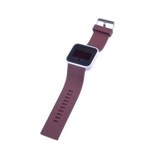Bestdealusa Digital Led Touch Screen Hours Date Brwon Rubber Wrist Unisex Watch