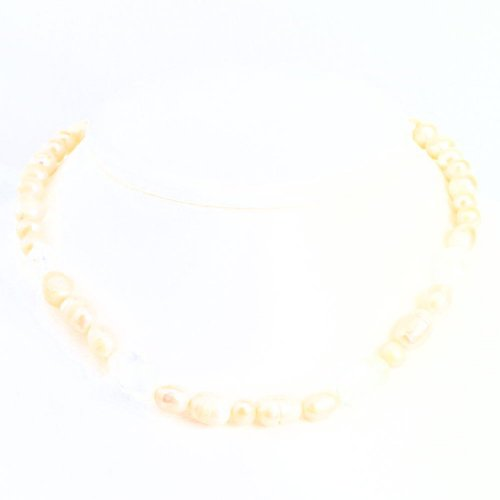 Sterling Silver Imitation Pearl Clear Quartz Strand 16