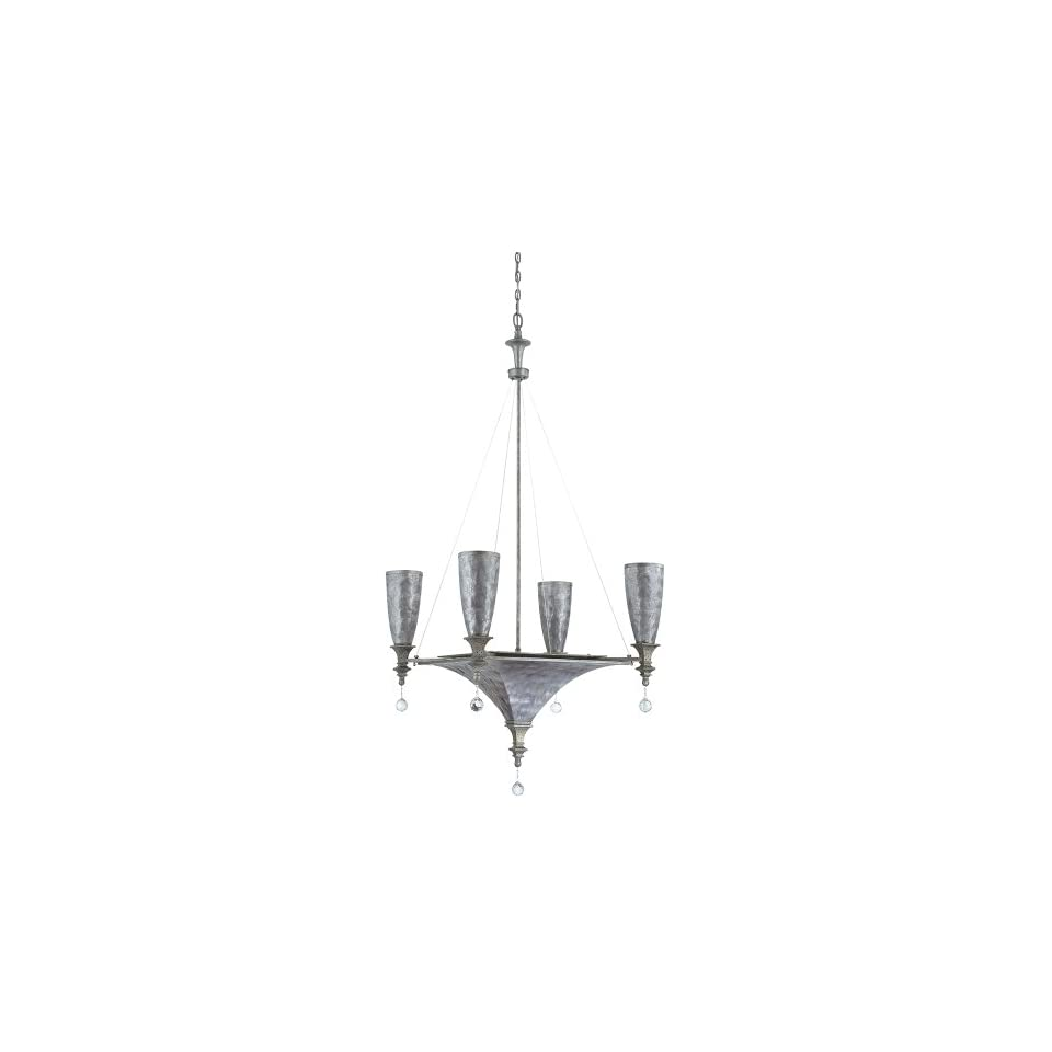Yosemite Home Decor CL103C 3 4GR Capiz 7 Light Incandescent Chandelier with Gray Capiz Shade
