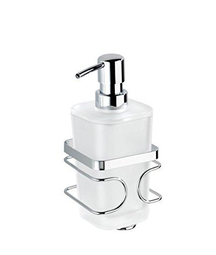 WENKO 20416100 Dispenser sapone Premium - fissaggio senza trapano,  0.355 L, Acciaio inossidabile, 9.5 x 17.5 x 8.7 cm, Lucido