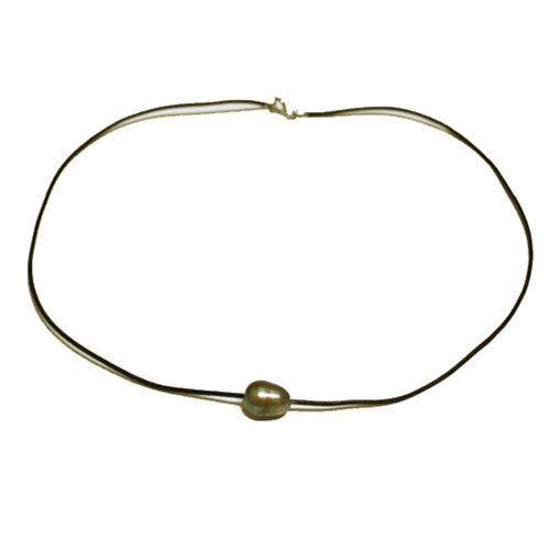 9-11mm Green Oval Freshwater Cultured Pearl Necklace With Leather Chain,16