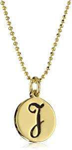 "Erica Anenberg ""Initial J"" Gold Pendant Necklace"