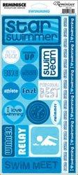 Reminisce Signature Series Sport Stickers-Swimming Phrase