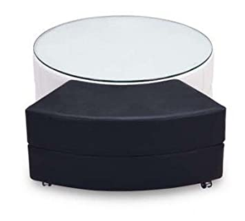 Upholstered Coffee Table w Casters in Black & White