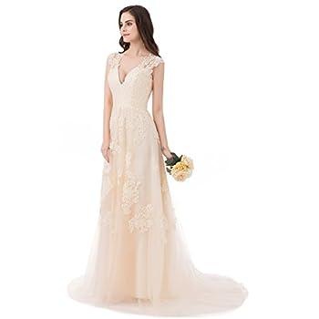 ASA Bridal Women's Vintage Cap Sleeve Lace A Line Wedding Dresses Bridal Gowns