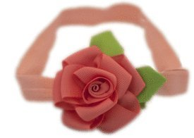 Baby Flower Headband for Infant, Baby, Toddler. Ribbon Rose. (Coral)