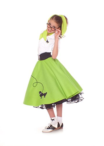 Hip Hop 50S Shop 7 Piece Child Poodle Skirt Outfit - Size Medium Child Lime Green