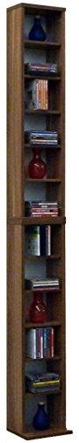 VCM 24002  Bigol Système d'Archivage pour 204 CDs Imitation Structure Bois Cœur de Noyer 175 x 21 x 20 cm