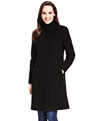 M&S Collection Wool Rich Funnel Neck Coat with Cashmere