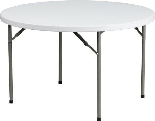 Flash Furniture Round Granite Plastic Folding Table, 48-Inch, White