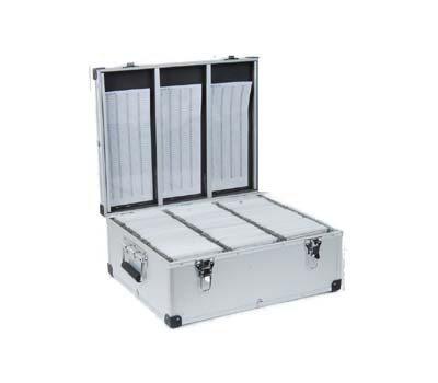 Aluminium CD or DVD Storage Box with sleeves holds upto 420 disks