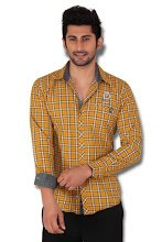 Kivon Men's Yellow Slim Fit Checked Casual Shirt