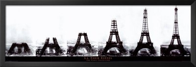 professionally framed la tour eiffel eiffel tower construction the paris collection art poster print 12x36 with solid black wood frame