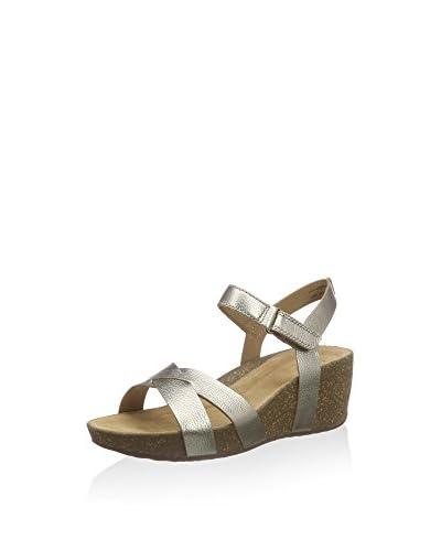 Clarks Keil Sandalette goldfarben